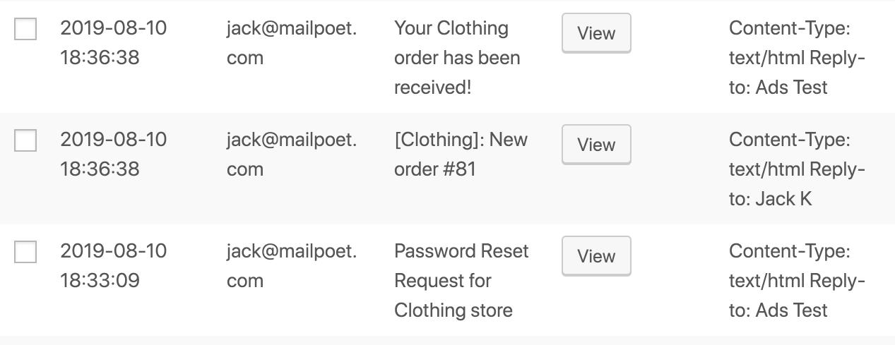 Screenshot of emails logged.