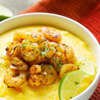 Crockpot Creamy Polenta with Chili Lime Shrimp