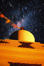 Photo: TIME EXPOSURE Stupa south of Pucon, approx. 20 minutes at ASA 400, 24mm Nikkor @ f/3.5  The cloudy region is the center of the Milky Way, between Sagitarrius and Scorpio;  stupa illuminated by camp-fire