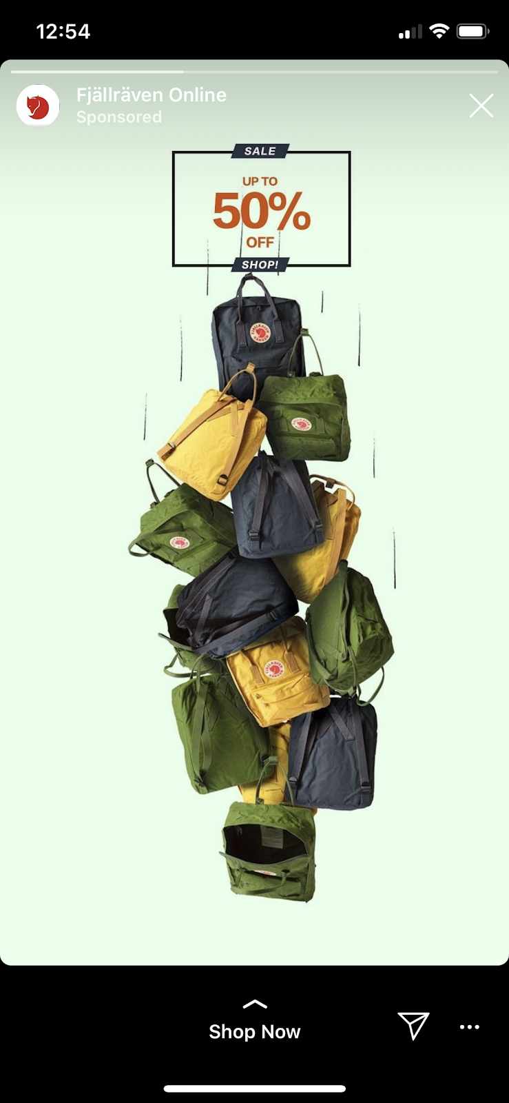 Fjallraven Instagram story ad example