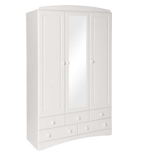 Scandi White 3 Door 5 Drawer Robe