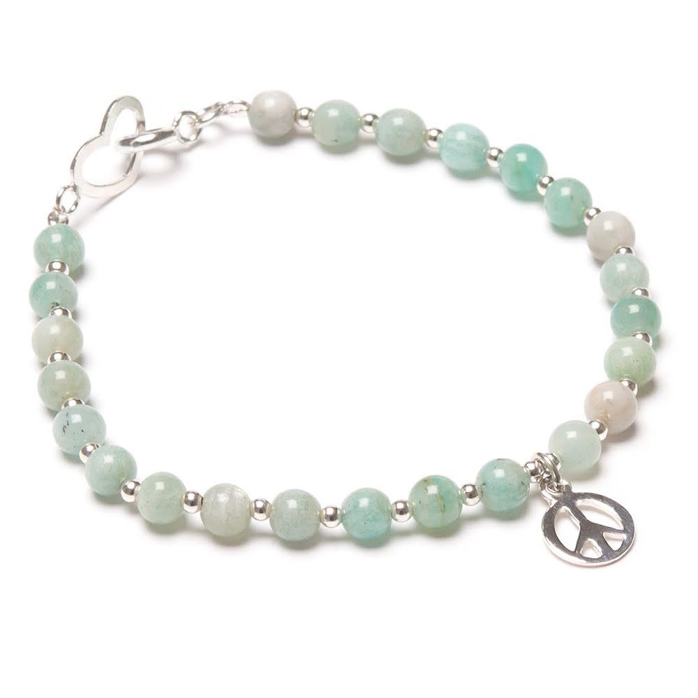 Amazonit armband i silver med hjärta och peacemärke
