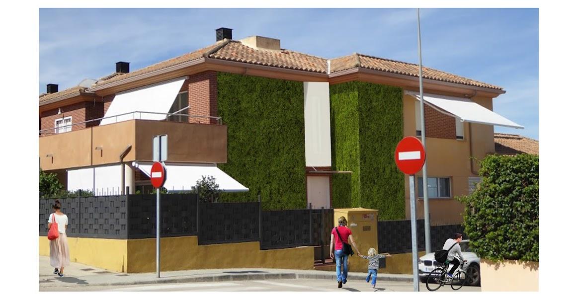 Imagen de la propuesta de jardín vertical de musgo proyectado