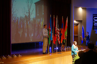 Photo: Student Body Vice President Ella Stewart, Remarks and Parade of Flags
