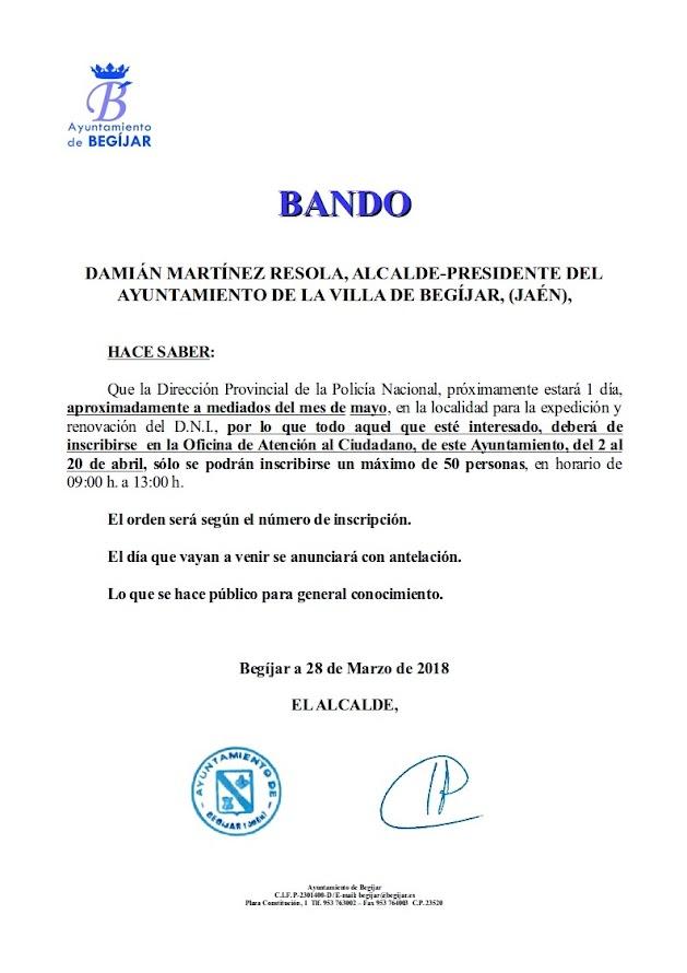 Bando Renovación DNI 2018