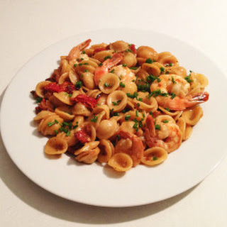 Orecchiette Pasta with Shrimp and Sun dried tomatoes.