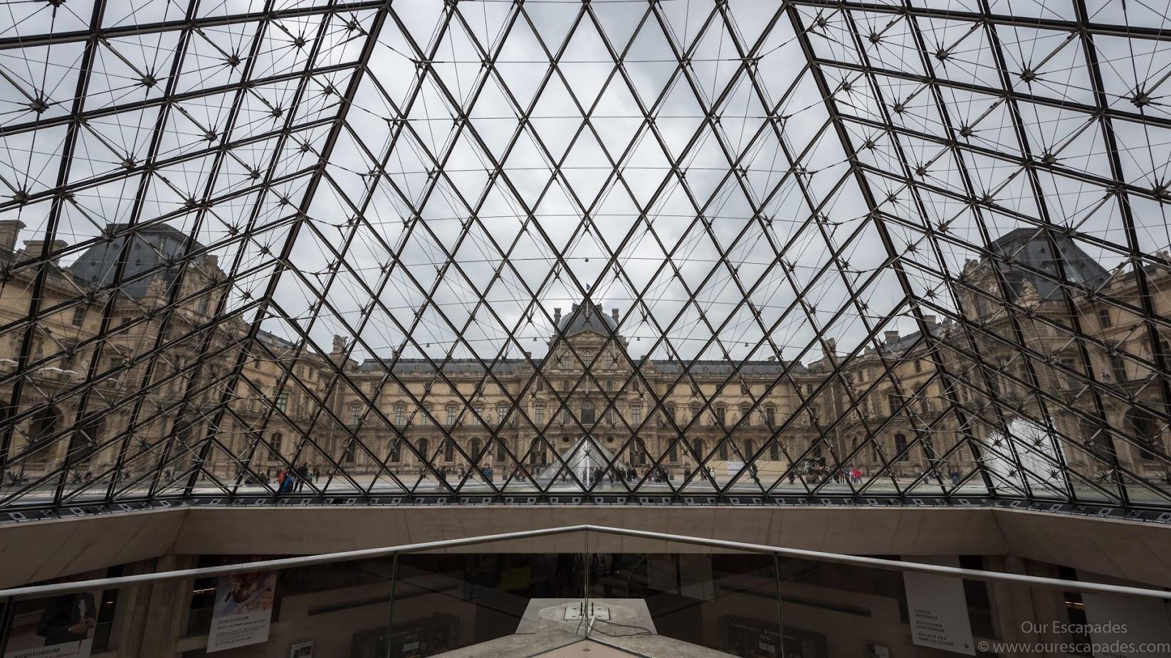 Inside the Louvre glass pyramid