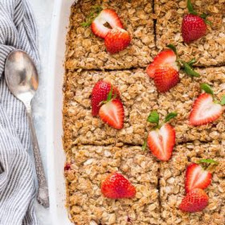 Overnight Strawberry Rhubarb Baked Oatmeal Crisp.