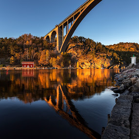 Reflections by Bent Velling - Buildings & Architecture Bridges & Suspended Structures ( water, sweden, canon 6d, benro, warm, svinesund, reflections, bridge, border, rocks, norway )