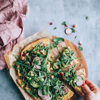 Chickpea Crust Pizza with All The Greens.