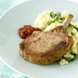 Pork Chops with Arugula Parmesan Mashed Potatoes
