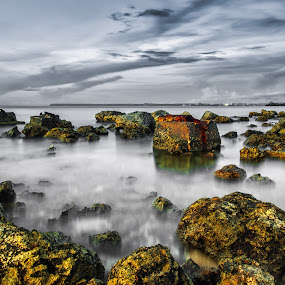 Rocky Shoreline by Jun Robato - Landscapes Waterscapes ( guam, seascapes, long exposure, waterscapes, landscapes )