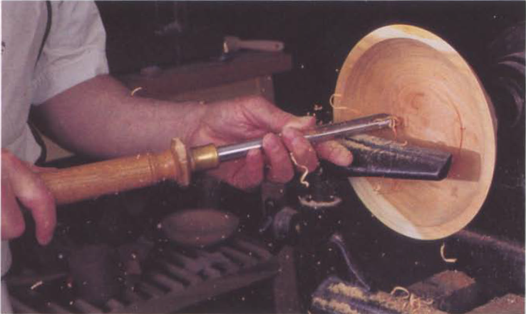 As you approach the center of an inside cut, the diameter is decreasing so the tool needs to be rotated to keep the cut sweet.