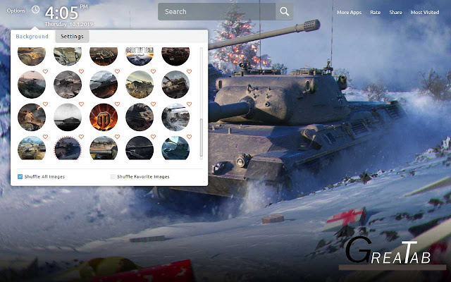 World of Tanks Wallpapers Theme|GreaTab