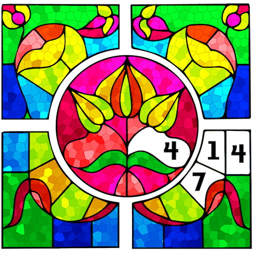 Stained Glass Color by Number: Adult Coloring Book Icon