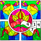 Stained Glass Color by Number: Adult Coloring Book
