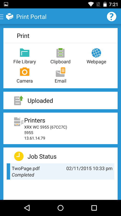 Xerox Print Portal- screenshot