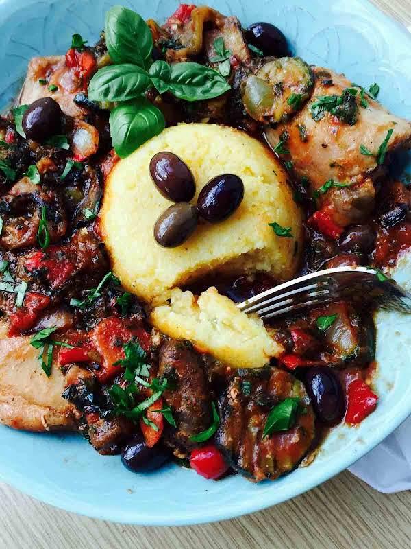 Grilled Veggies, Polenta And Chicken Casserole Recipe