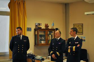 Photo: Intervention du second-maître Vion sur son parcours et sa fonction sur le Forbin