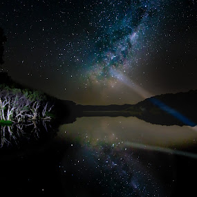 Milky Way Reflected by Gary Tindale - Landscapes Starscapes ( reflection, astro, light painting, stars, night, river, milky way,  )