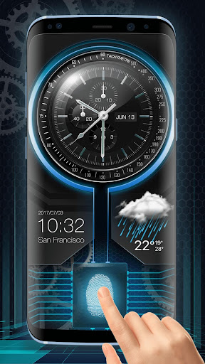 Fingerprint Lock with Analog Clock Prank  screenshots 1