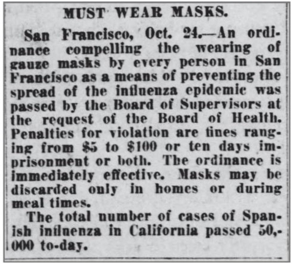 Mask wearing from 1918 flu