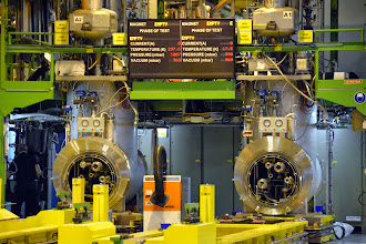Photo: Inside the test facility, where they test/repair modules of the accelerator magnets
