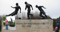 Statues of Sir Stanley Matthews and Gordon Banks outside Stoke City's bet365 Stadium.