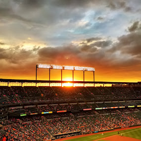 Sunset at Camden Yards by Chris Montcalmo - Sports & Fitness Baseball ( sky, sunset, stadium, sports, baltimore, architecture, baltimore orioles, orioles )