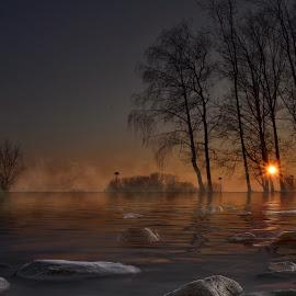 On the lake by Dunja Milosic Odobasic - Digital Art Places