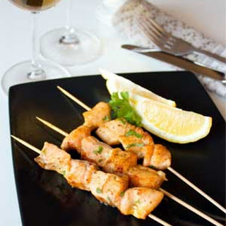 Fried Curry Salmon Skewers