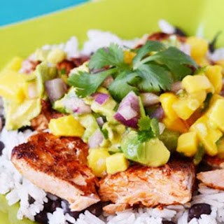 Tropical Salmon with Rice and Salsa