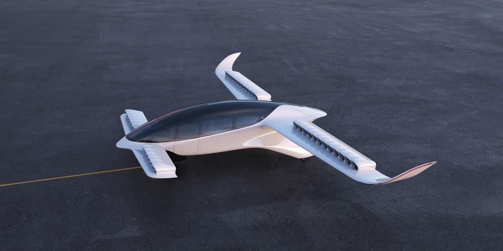 Conceito da Lilium, que firmou parceria com a Azul, prevê eVTOL com espaço para seis passageiros e um piloto — Foto: Divulgação/Lilium