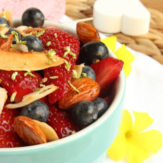 Sweet Roasted Coconut, Almond & Berry Lime Fruit Salad