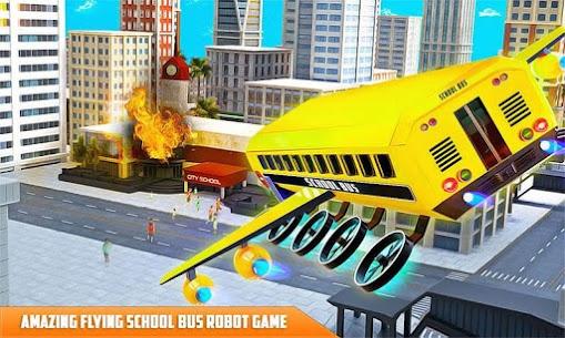 Flying School Bus Robot: Hero Robot Games 4