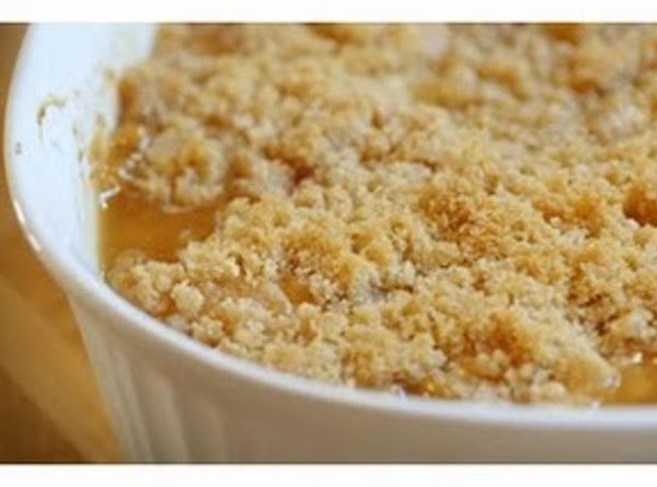 Sprinkle  mixture over peaches, in the baking dish.Bake @ 375 for 45-50 min...
