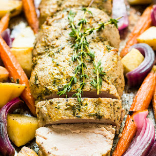 Roasted Pork Tenderloin with Mustard, Apple & Vegetables