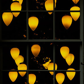 Chandeliers by Mark Denham - Buildings & Architecture Other Exteriors ( lights, window, chandeliers, yellow )