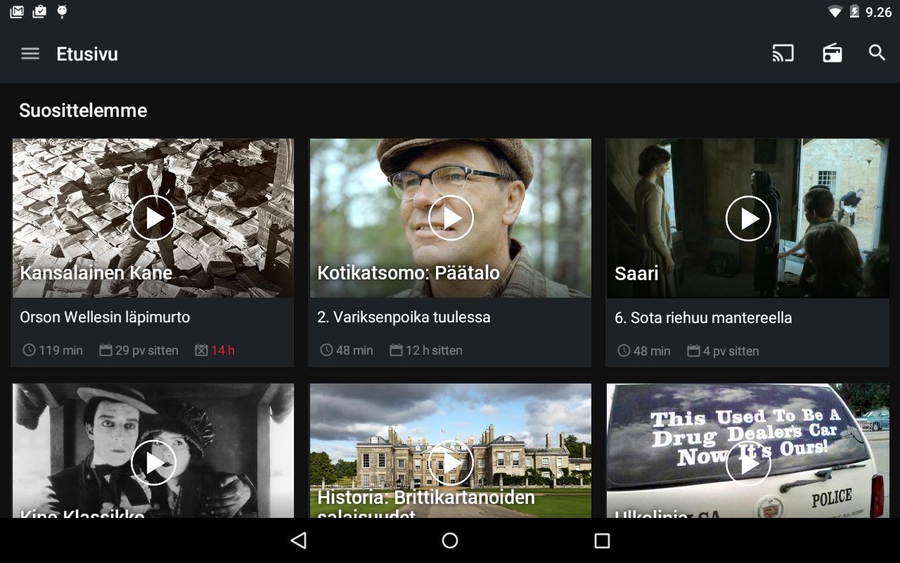YLE Areena- screenshot