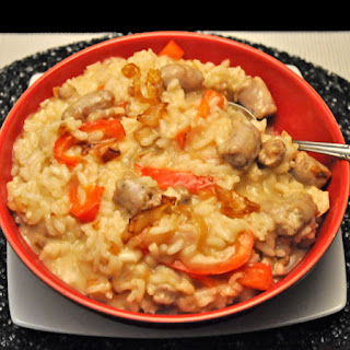 Risotto, Sausage, Red Pepper, Caramelized Onions