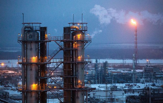 A gas flare burns at Russian oil refinery, operated by OAO Lukoil. in Russia. Picture: BLOOMBERG