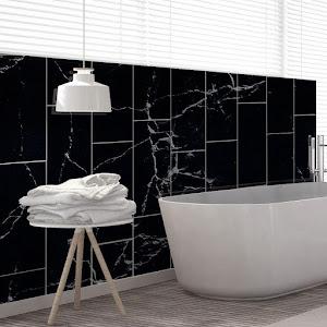 Set 5 x Tapet adeziv decorativ,  marmura neagra, 30x60 cm