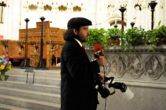 Photo: Venezuelan Embassy photographer stands in for lighting and sound check for the VTV Venezuelan State TV camera.