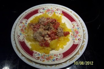 Spaghetti Squash & Cajun Sauce  With  Meatballs Recipe