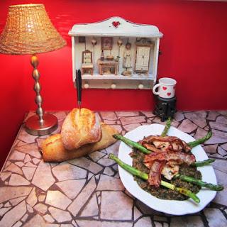 Spiced Chicken, Bacon, Asparagus & Spinach Lentils.