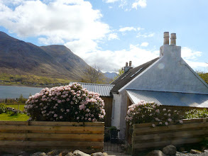 Photo: Kirsty's Cottage entrance with views to the Cuillins