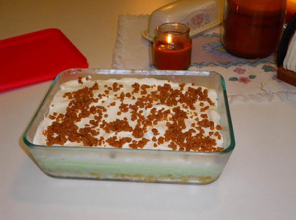 Mom This Is My Image, I Made A Half Batch Of This Dessert It Fills A 4x6 Pyrex Pan And Two Small Custard Dishes Perfectly.