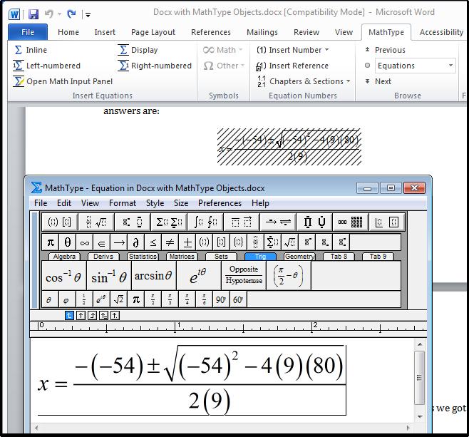 MathType window in Microsoft Word.