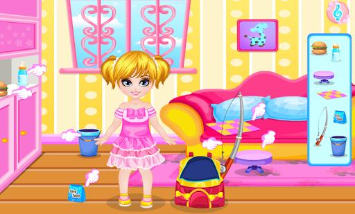 可愛的女孩春遊-兒童休閒遊戲