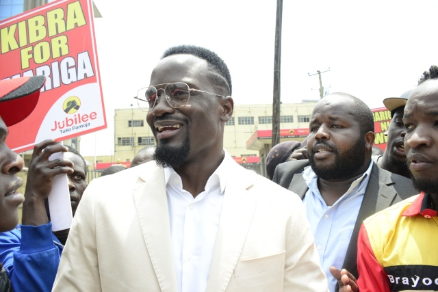 Former international footballer McDonald Mariga after submitting his nomination application papers for Kibra Parliamentary seat at the Jubilee Headquarters along Thika Road on September 2, 2019.